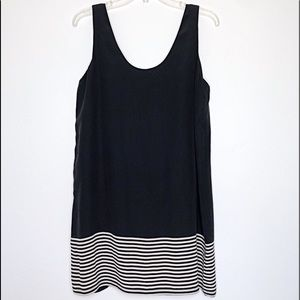 JOIE Black & Cream Striped Silk Tank Mini Dress